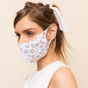 ADULT ANTIBACTERIAL WHITE LEOPARD FACE MASK